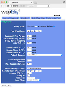 WebRelay ping options for controlling an IP camera