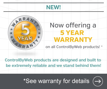 New five-year warranty for all ControlByWeb products.