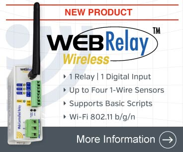 Announcing the WebRelay Wireless with one relay, one digital input, up to 4 temperature/humidity sensors, email notifications, basic script interpreter, and more.