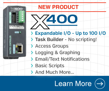 Announcing the X-400 Web-Enabled I/O Controller with custom task builder, user permissions, control up to 100 local and remote I/O, and more.