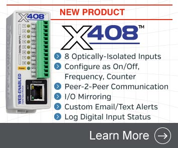 Announcing the X-408 Web-Enabled Digital Input Module with 8 Optically-Isolated Digital Inputs
