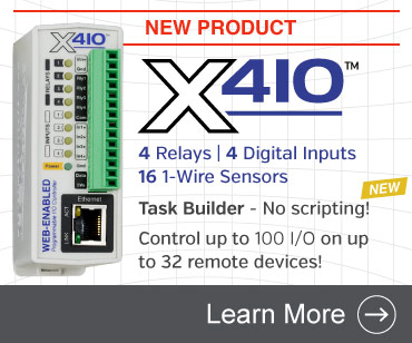 Announcing the X-410 Web-Enabled Programmable Controller with four relays, four digital inputs, up to 16 1-Wire sensors, task builder, user permissions, control up to 100 local and remote I/O, and more.